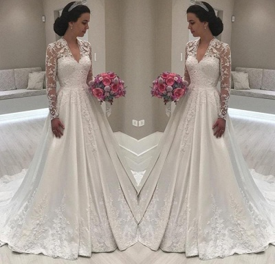 Princess Long Sleeve V-Neck Wedding Dress   2019 Lace Bridal Gowns On Sale_3