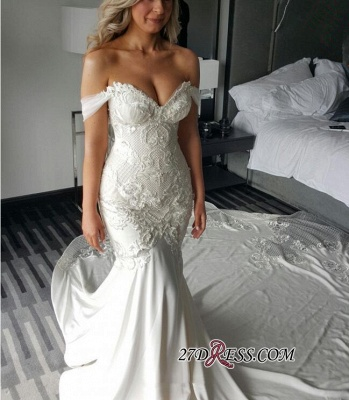 Off-the-shoulder Delicate Sexy Mermaid Train Lace-Appliques Wedding Dress_3