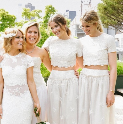 Modern White Two Piece A-line Bridesmaid Dress UK Lace Short Sleeve Jewel_8