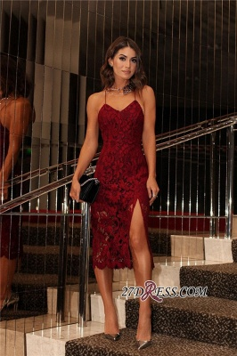 Backless Burgundy Two-straps Elegant Lace Prom Dress UK BA6784_2