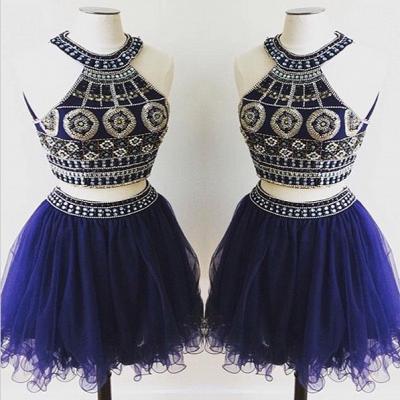 Elegant Two Piece Crystals Mini Homecoming Dress UK Halter Sleeveless_3