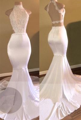 White Sleeveless Newest Mermaid High-Neck Prom Dress UK_4