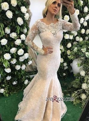 Long-Sleeve Floor-Length Stunning Mermaid Lace Appliques Evening Dress UK BMT BA6805_2