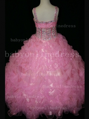 Girls Beauty Pageant Dresses for Girls Affordable Wholesale Beaded Crystal Gowns Flower_5