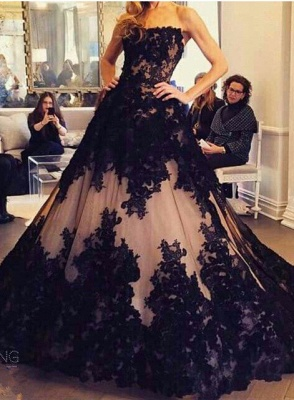 Chic Lace Appliques Ball Gown Evening Dress UK Strapless Sleeveless_1