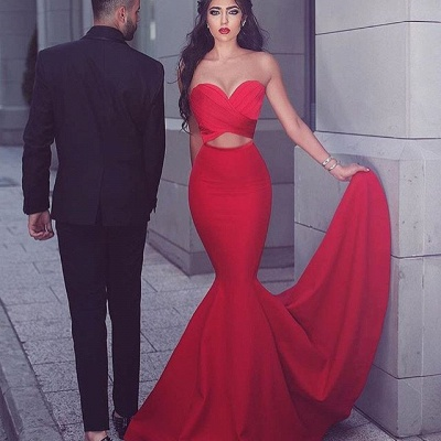 Elegant Red Mermaid Evening Dress UK Sweetheart Long MH204_3
