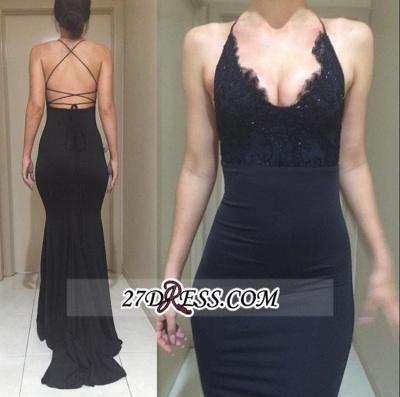 Black Elegant Lace Spaghetti-Straps Mermaid Appliques Evening Dress UK BA4216_1