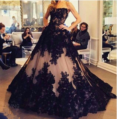 Chic Lace Appliques Ball Gown Evening Dress UK Strapless Sleeveless_3