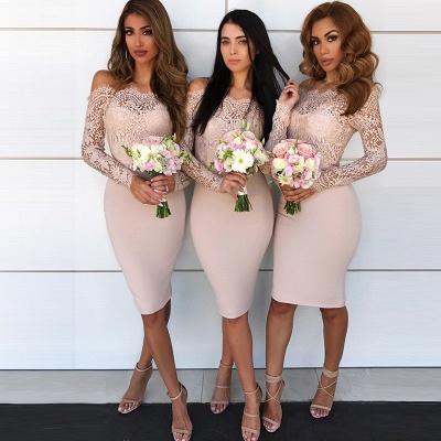 Long-Sleeve Lace Bridesmaid Dress UK | Knee-Length Sheath Maid of Honor Dress UK_3