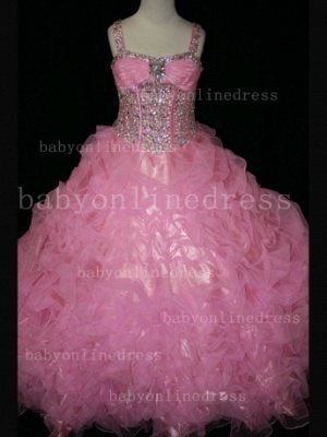 Girls Beauty Pageant Dresses for Girls Affordable Wholesale Beaded Crystal Gowns Flower_4
