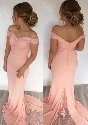 Sexy Off-the-Shoulder Mermaid Evening Dress UK With Lace Appliques_1