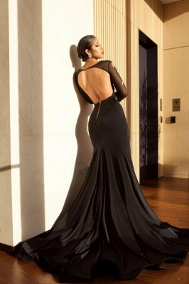 Black Long Sleeve Prom Dress UK | Gold Appliques Mermaid Evening Dress UK_4