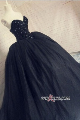 Puffy Beaded Sequins Corset Sparkly Black Amazing Tulle Sweetheart Prom Dress UK_1