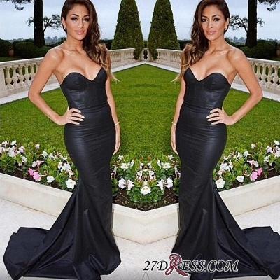 Sweetheart Black Mermaid Elegant Sweep-Train Evening Dress UK_2