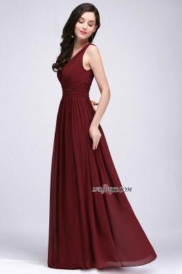 V-Neck Ruched Chiffon A-line Burgundy Evening Dress UKes UK_11