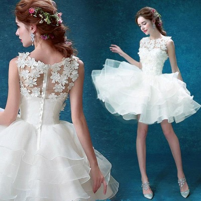 Pretty Sleeveless Appliques Homecoming Dress UK Short With Zipper Button Back_3