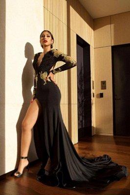 Black Long Sleeve Prom Dress UK | Gold Appliques Mermaid Evening Dress UK_3