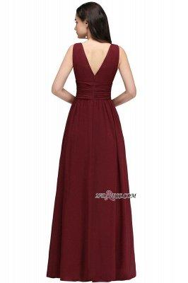 V-Neck Ruched Chiffon A-line Burgundy Evening Dress UKes UK_12