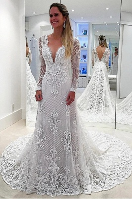 Delicate White Long Sleeve A-line Lace Wedding Dress   Sweep Train Bridal Gown_1