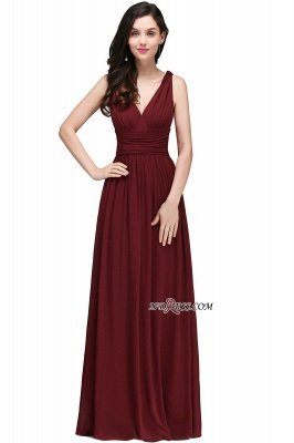 V-Neck Ruched Chiffon A-line Burgundy Evening Dress UKes UK_9