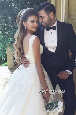 Appliques Tulle Square Elegant Ball New Sleeveless Wedding Dresses UK BA4133_1