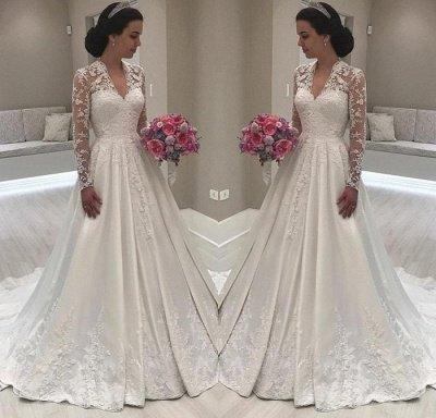 Princess Long Sleeve V-Neck Wedding Dress | 2019 Lace Bridal Gowns On Sale_3