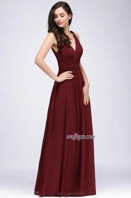 V-Neck Ruched Chiffon A-line Burgundy Evening Dress UKes UK_13