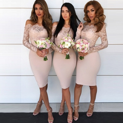 Long-Sleeve Lace Bridesmaid Dress UK | Knee-Length Sheath Maid of Honor Dress UK_3