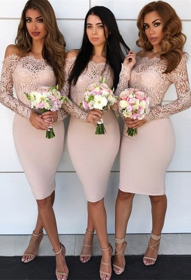 Long-Sleeve Lace Bridesmaid Dress UK | Knee-Length Sheath Maid of Honor Dress UK_2