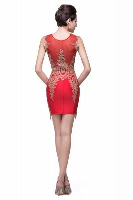 Elegant Red Golden Appliques Sheath Homecoming Dress UK Sleeveless_4