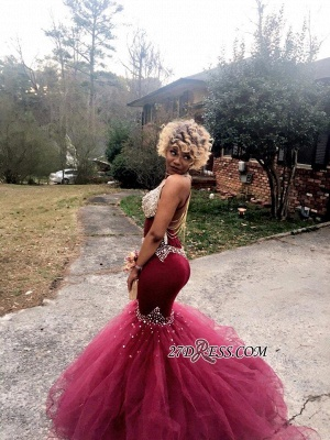 V-Neck Tulle Mermaid Luxury Crystal Prom Dress UK BK0_1