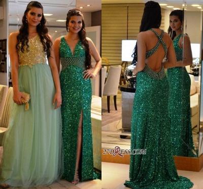Criss-Cross Green Crystal V-Neck Side-Slit Sequined Prom Dress UKes UK_1
