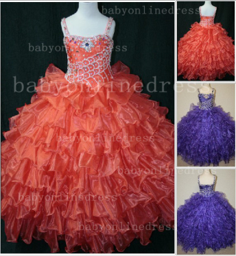 Hot Sale  for Teens Formal Gowns  Beaded  Girls Pageant Dresses With Glitz Straps_1