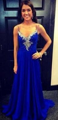 Crystal Long A-Line Royal-Blue Sleeveless Spaghetti-Strap Evening Dress UKes UK_1