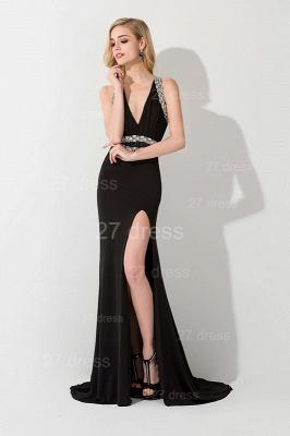 Elegant V-neck Mermaid Black Evening Dress UK Front Split Crystals_4