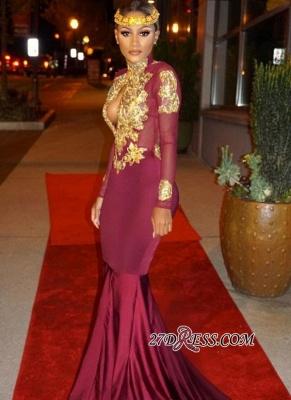 Mermaid Gold-Appliques Long-Sleeves Burgundy Keyhole Open-Back Prom Dress UKes UK ly164_3