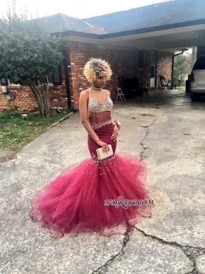V-Neck Tulle Mermaid Luxury Crystal Prom Dress UK BK0_2