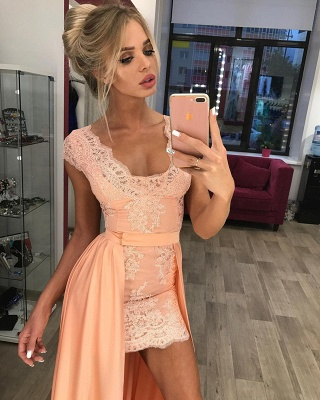 Stunning Cap Sleeve Lace Detachable Short Prom Dress UK Homecoming Dress UK BA7167_1