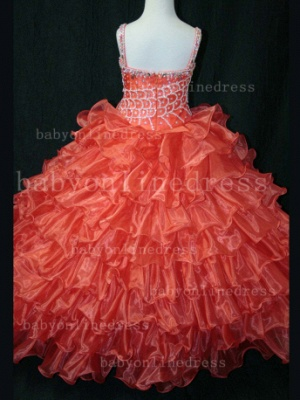 Hot Sale  for Teens Formal Gowns  Beaded  Girls Pageant Dresses With Glitz Straps_3