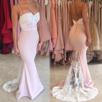 Sexy Spaghteei Strap Mermaid Prom Dress UK Lace Button Evening Gown_4