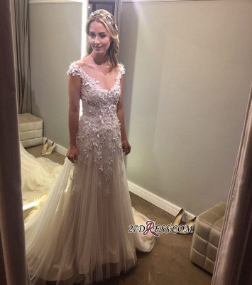 Lace tulle wedding dress, princess bridal gowns_5