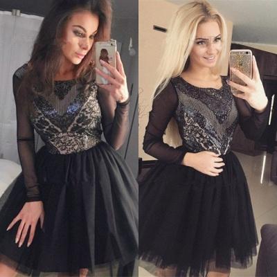 Black Long Sleeve Homecoming Dress UK   2019 Sequins Short Party Dress UK_5