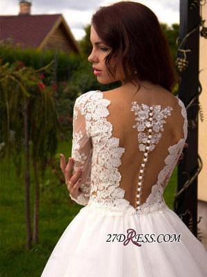 Button Tulle Elegant Princess Long-Sleeve Lace Zipper Wedding Dress_3