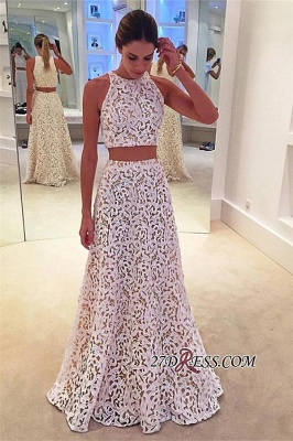 Lace Sleeveless Simple A-line White Two-Pieces Prom Dress UK BA4820_2