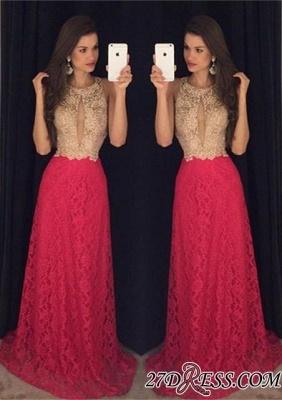 Lace Sweep-Train Sleeveless Newest Jewel Long Prom Dress UK_2