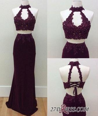 Keyhole-Neck Lace Lace-Up Two-Piece Beading Sheath Prom Dress UKes UK LY182_1