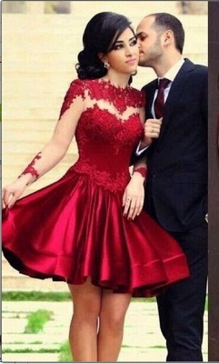 New Knee Length Lace Satin Homecoming Dress UKes UK Long Sleeves High Neck Sheer Party Gowns_1
