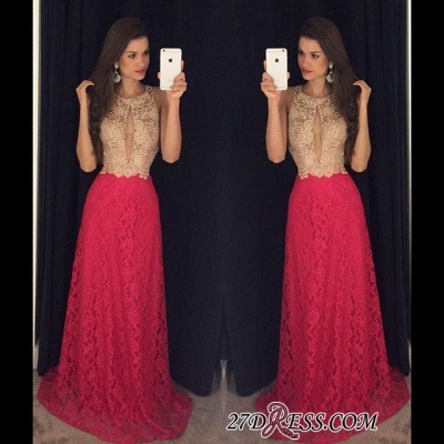 Lace Sweep-Train Sleeveless Newest Jewel Long Prom Dress UK_1