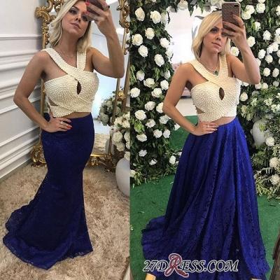 Sleeveless Pearls Lace Sexy Long Evening Dress UKes UK_2