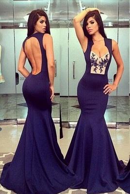 Elegant V-neck Sleeveless Mermaid Prom Dress UK Floor-length With Appliques_1
